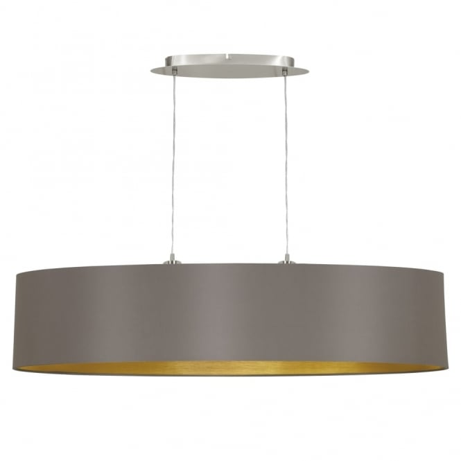 Eglo Maserlo Large Oval Cappucino and Gold Fabric Pendant Light