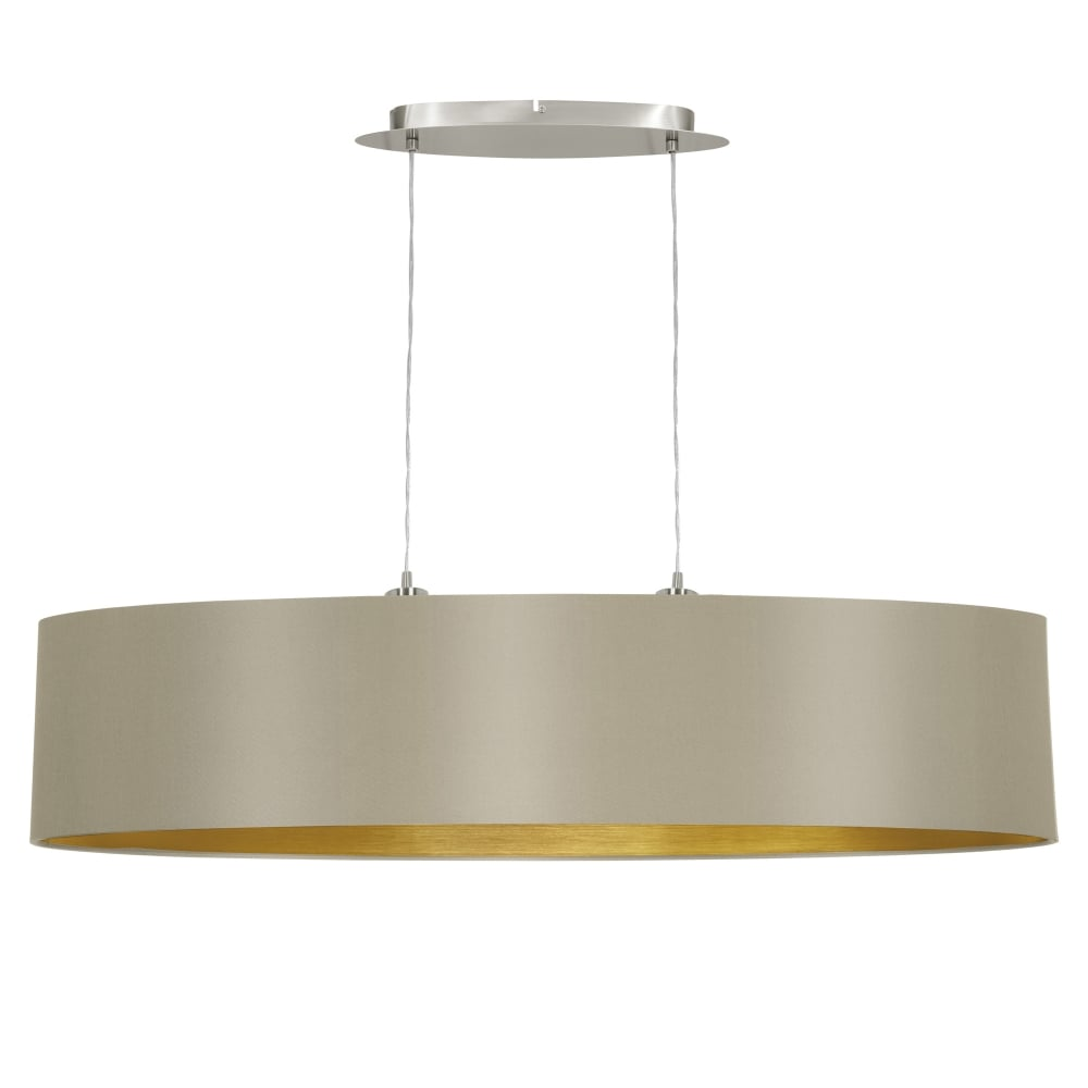 eglo 31618 maserlo large oval taupe and gold fabric pendant light. Black Bedroom Furniture Sets. Home Design Ideas