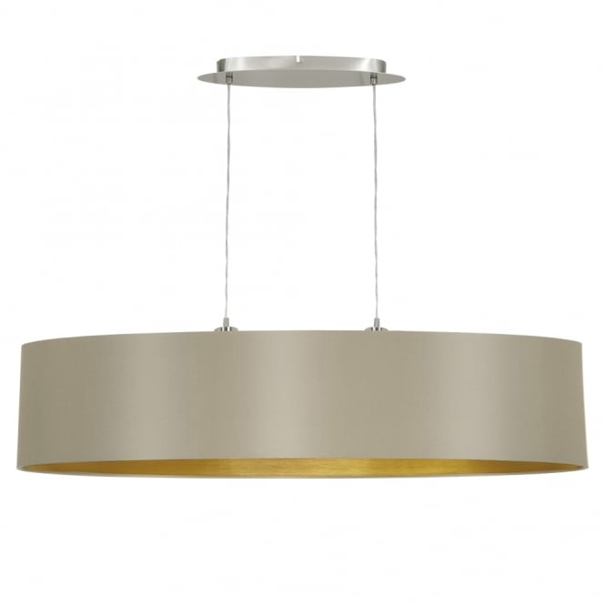 Eglo Maserlo Large Oval Taupe and Gold Fabric Pendant Light