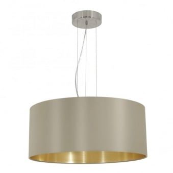 Maserlo Large Taupe and Gold Fabric Pendant Light
