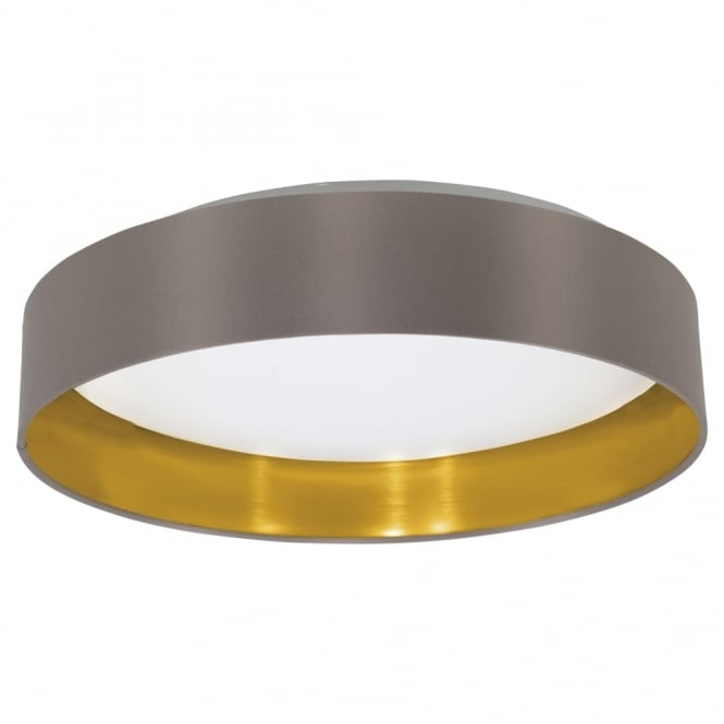 Eglo Maserlo LED Cappucino and Gold Flush Fabric Ceiling Light