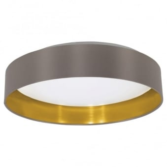 Maserlo LED Cappucino and Gold Flush Fabric Ceiling Light