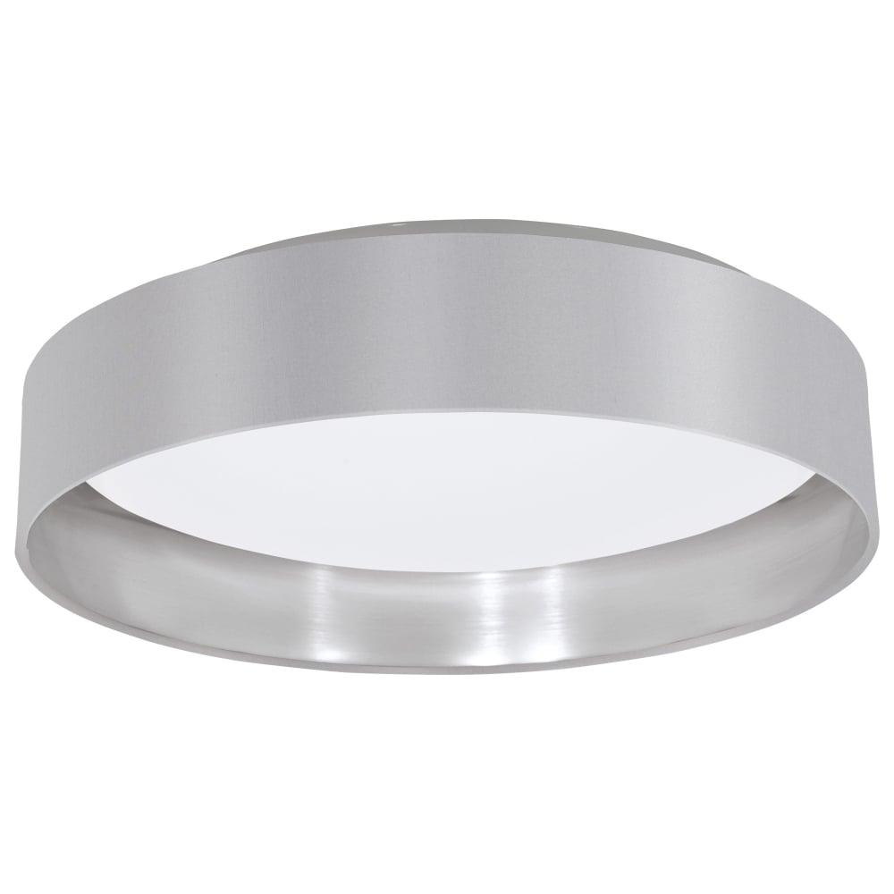 Ceiling Lights Grey : Eglo maserlo led grey and silver flush fabric