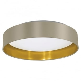Maserlo LED Taupe and Gold Flush Fabric Ceiling Light