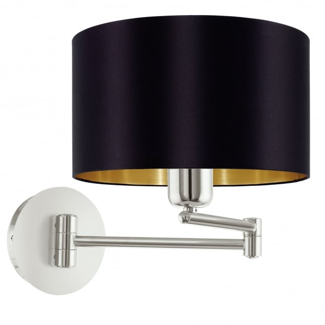 Eglo Maserlo Matt Nickel Swing Arm Wall Light with a Black and Gold Shade
