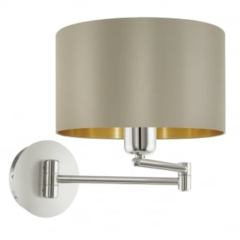 Maserlo Matt Nickel Swing Arm Wall Light with a Taupe and Gold Shade