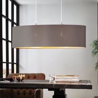 Maserlo Oval Cappucino and Gold Fabric Pendant Light