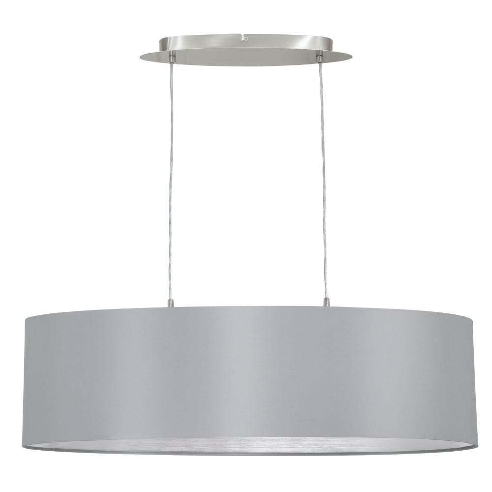 Eglo 31612 maserlo oval grey and silver fabric pendant light maserlo oval grey and silver fabric pendant light mozeypictures Choice Image