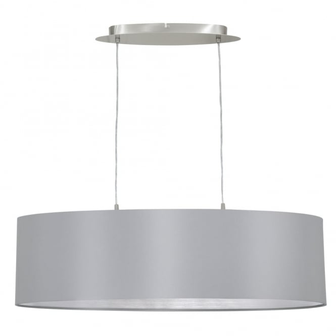 Eglo Maserlo Oval Grey and Silver Fabric Pendant Light