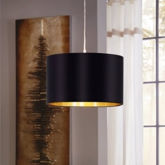 Maserlo Small Black and Gold Fabric Shade Pendant