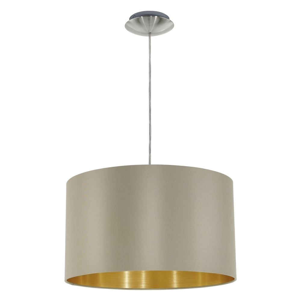 Eglo 31602 maserlo small taupe and gold fabric pendant light maserlo small taupe and gold fabric pendant light mozeypictures Choice Image