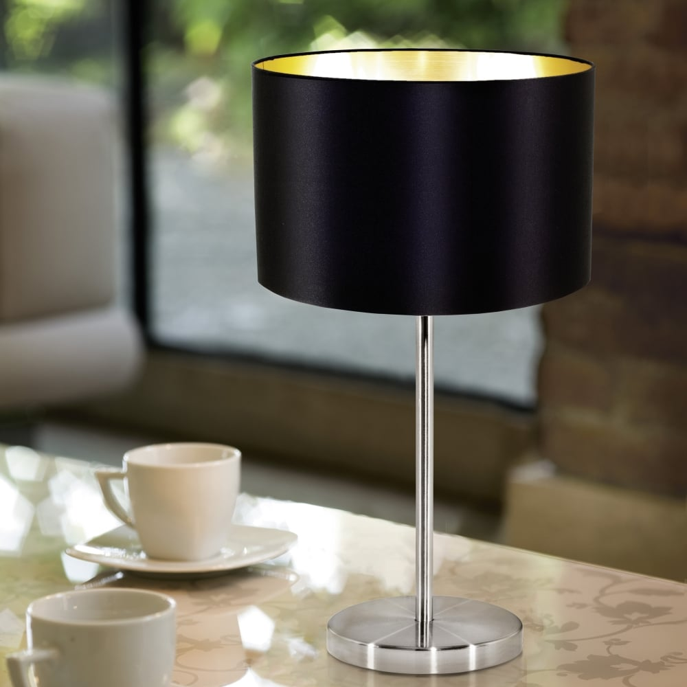 eglo 31627 maserlo table lamp with a black and gold shade. Black Bedroom Furniture Sets. Home Design Ideas