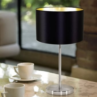 Maserlo Table Lamp with a Black and Gold Shade