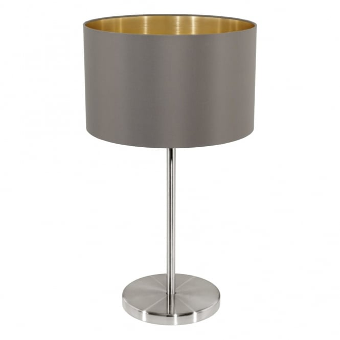 Eglo Maserlo Table Lamp with a Cappucino and Gold Shade