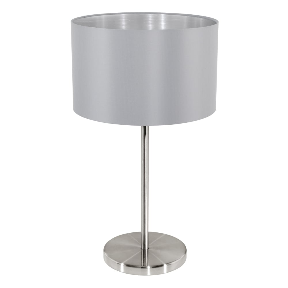 Maserlo Table Lamp With A Grey And Silver Shade