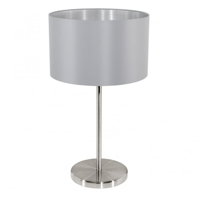 Eglo Maserlo Table Lamp with a Grey and Silver Shade