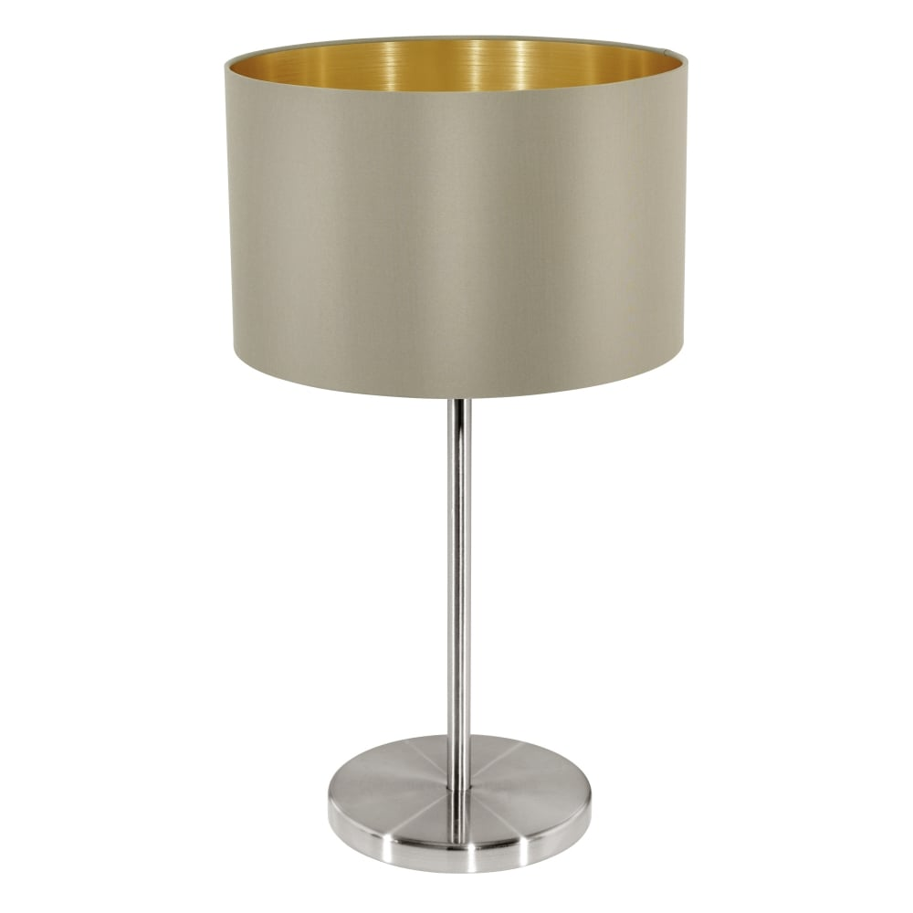 Maserlo Table Lamp With A Taupe And Gold Shade