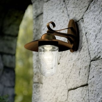 Milton Outdoor IP44 Antique Brown Galvanised Steel Wall Light