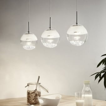 Montefio 1 LED Crystal Triple Globe Bar Pendant Light