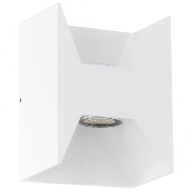 Eglo Morino White Cube LED Exterior Up and Down Wall Light