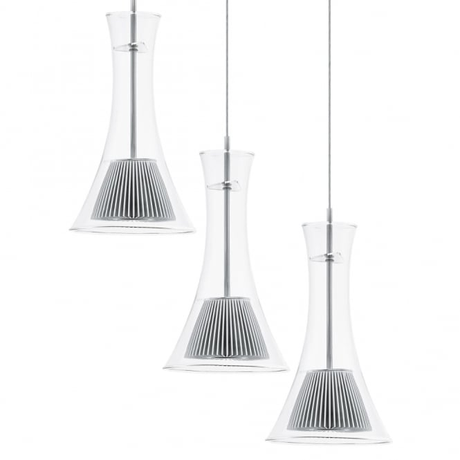 Eglo Musero LED Clear Glass Triple Round Pendant Light