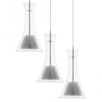 Musero LED Clear Glass Triple Round Pendant Light