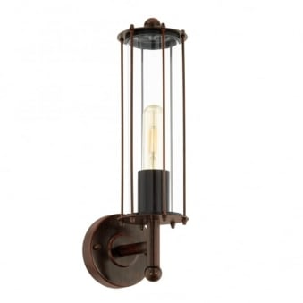 Nabila 1 Exterior Galvanised Steel Wall Light in Antique Brown