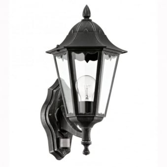 Navedo PIR Black IP44 Exterior Cast Aluminium Up Wall Light