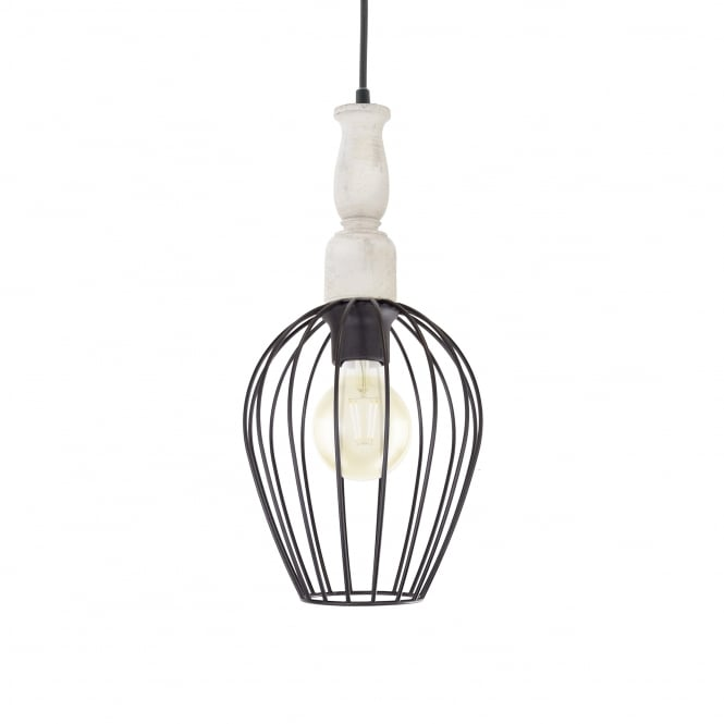 Eglo Norham Steel and Wooden Cage Pendant
