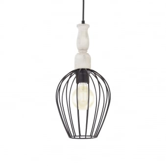 Norham Steel and Wooden Cage Pendant