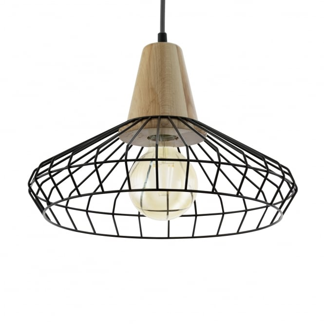 Eglo Norham Steel and Wooden Large Cage Pendant