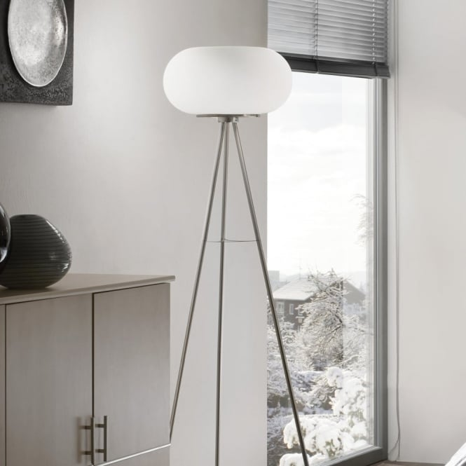 Eglo Optica Opal White Glass Globe Floor Lamp