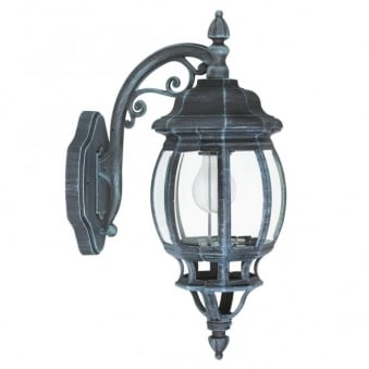 Eglo Outdoor Classic Black and Green Down Lantern Wall Light