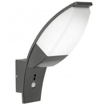 Panama LED Black Exterior PIR Wall Light in Anthracite