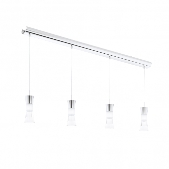 Eglo Pancento Four Light LED Bar Pendant in Chrome
