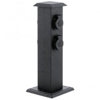 Park 4 Garden Pillar Power Points - Black