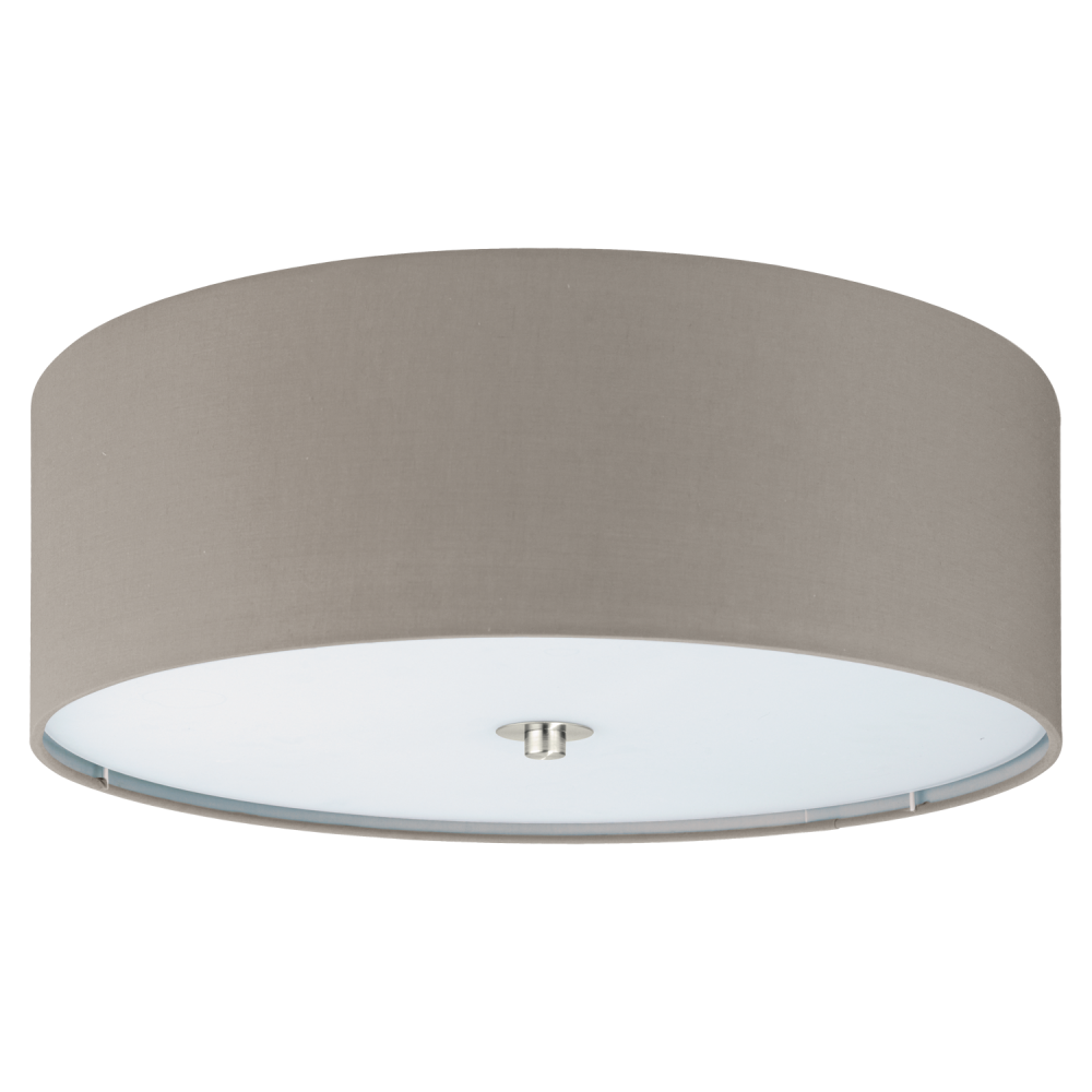 Eglo 94919 pasteri flush ceiling light in taupe and satin nickel pasteri flush ceiling light in taupe mozeypictures Image collections