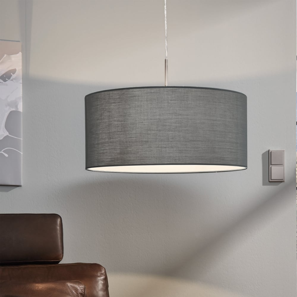 Eglo 31577 pasteri large grey fabric pendant light pasteri large grey fabric pendant light aloadofball Image collections