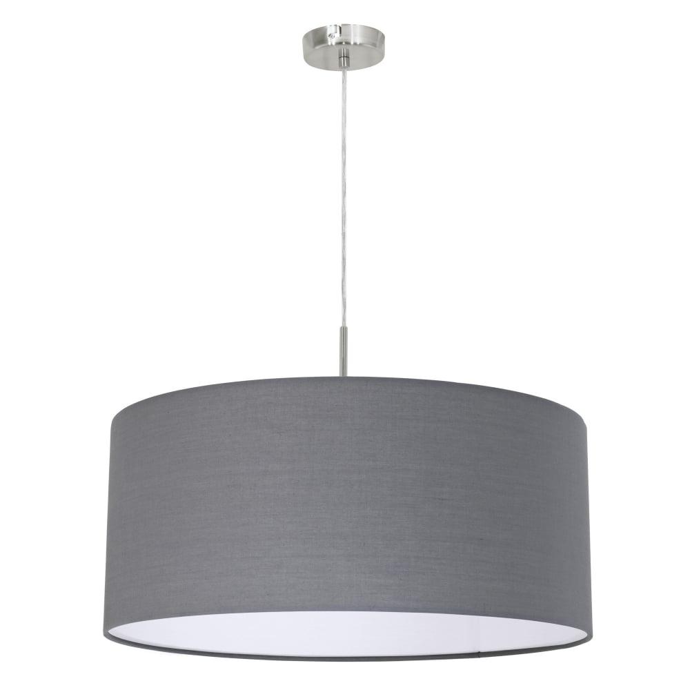 pasteri large grey fabric pendant light. eglo  pasteri large grey fabric pendant light