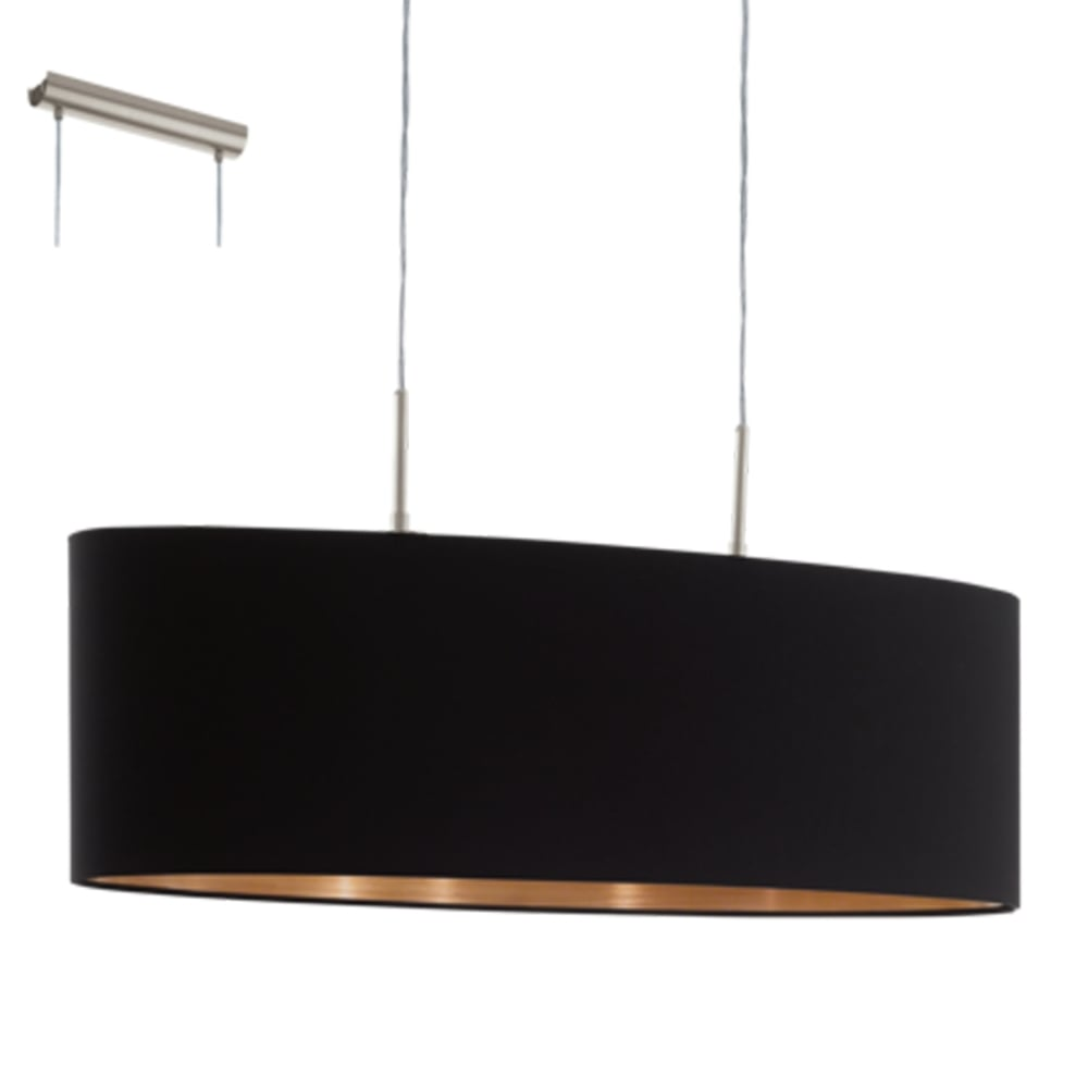 Eglo 94915 pasteri large oval black and copper fabric pendant light pasteri large oval black and copper fabric pendant light mozeypictures Choice Image
