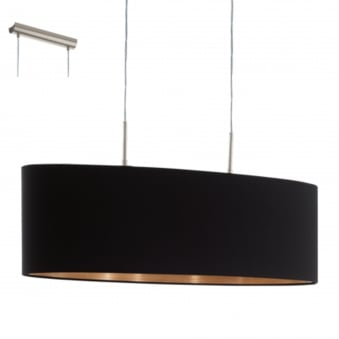 Pasteri Large Oval Black and Copper Fabric Pendant Light