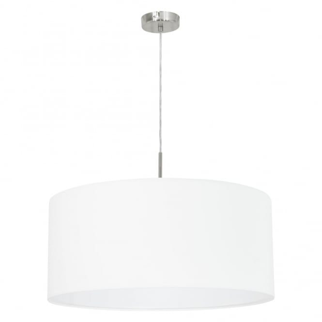 Eglo Pasteri Large White Fabric Pendant Light