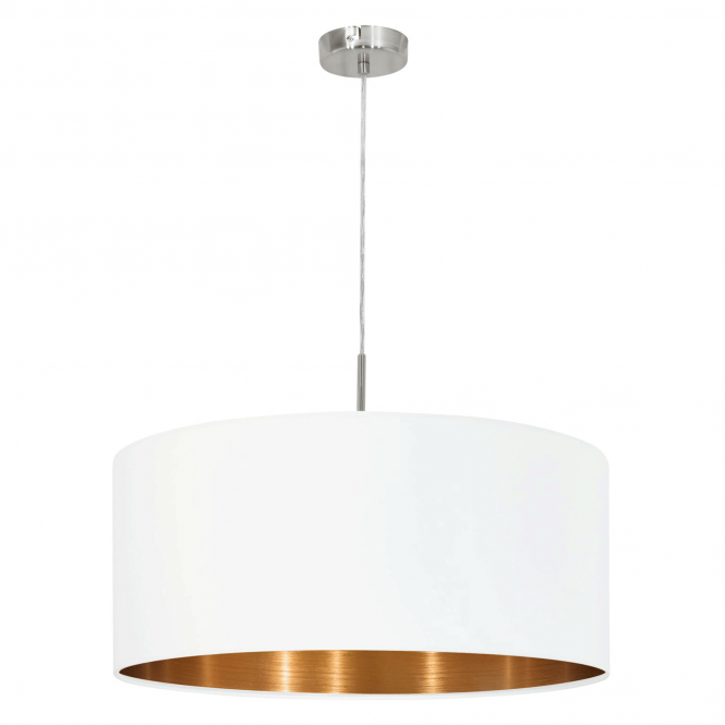 Eglo Pasteri Large White Pendant with Copper Interior