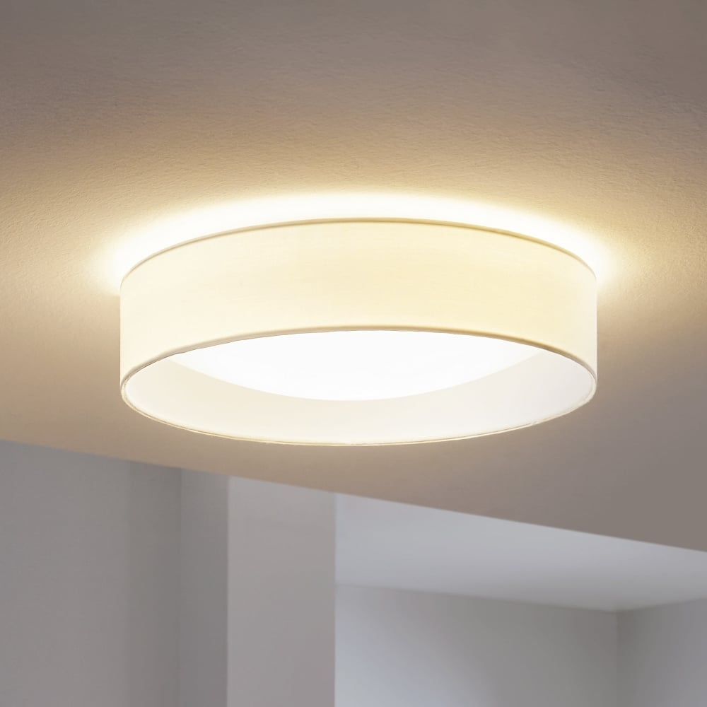 eglo 31588 pasteri led white fabric flush ceiling light