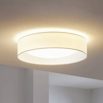 Pasteri LED White Fabric Flush Ceiling Light