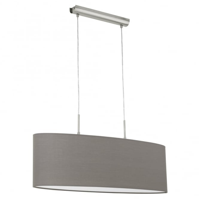 Eglo Pasteri Oval Anthracite Brown Fabric Pendant Light