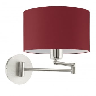 Pasteri Satin Nickel Swing Arm Wall Light with a Red Shade