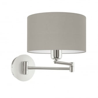 Pasteri Satin Nickel Swing Arm Wall Light with a Taupe Shade