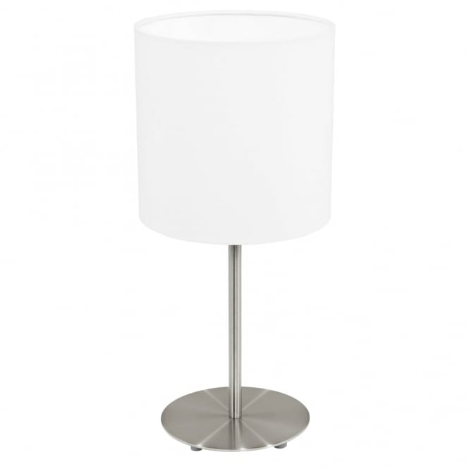 Eglo Pasteri Satin Nickel Table Lamp with a White Shade
