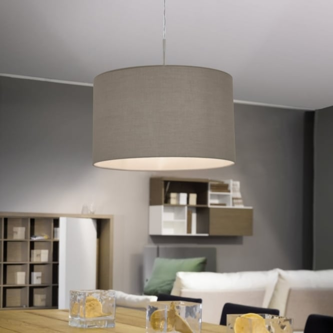 Eglo Pasteri Small Taupe and White Fabric Pendant Light